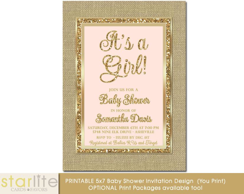 Blush Pink and Gold Baby Shower Invitation, Baby Girl Shower, Brown ...