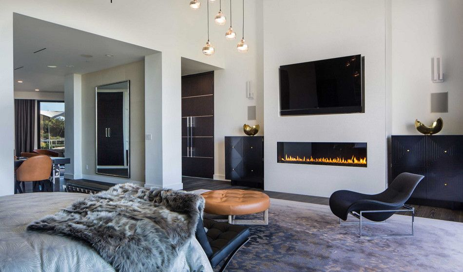 Modern Mansion Linear Gas Fireplace With Flat Screen Tv Above It Beverly Hills Home Designed By Kirk Nix Purchased Chrissy Teigen John Legend Kna