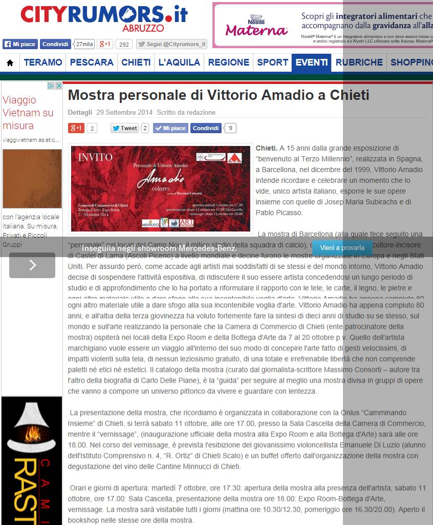 L'arte di Vittorio Amadio: La mostra di Vittorio Amadio a Chieti. Una prima rassegna stampa