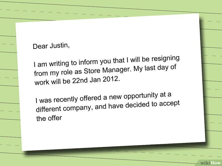 How to Write a Resignation Letter (with Sample) - wikiHow rixx