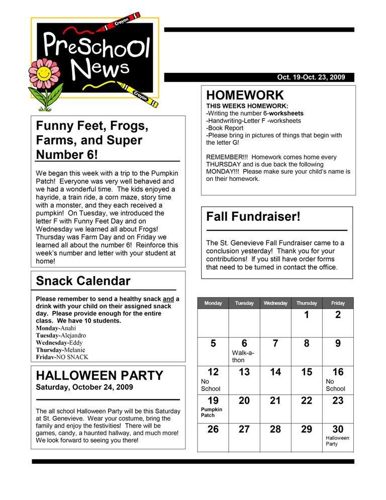 Newsletter - Basic. Calendar is an interesting idea. Maybe families ...