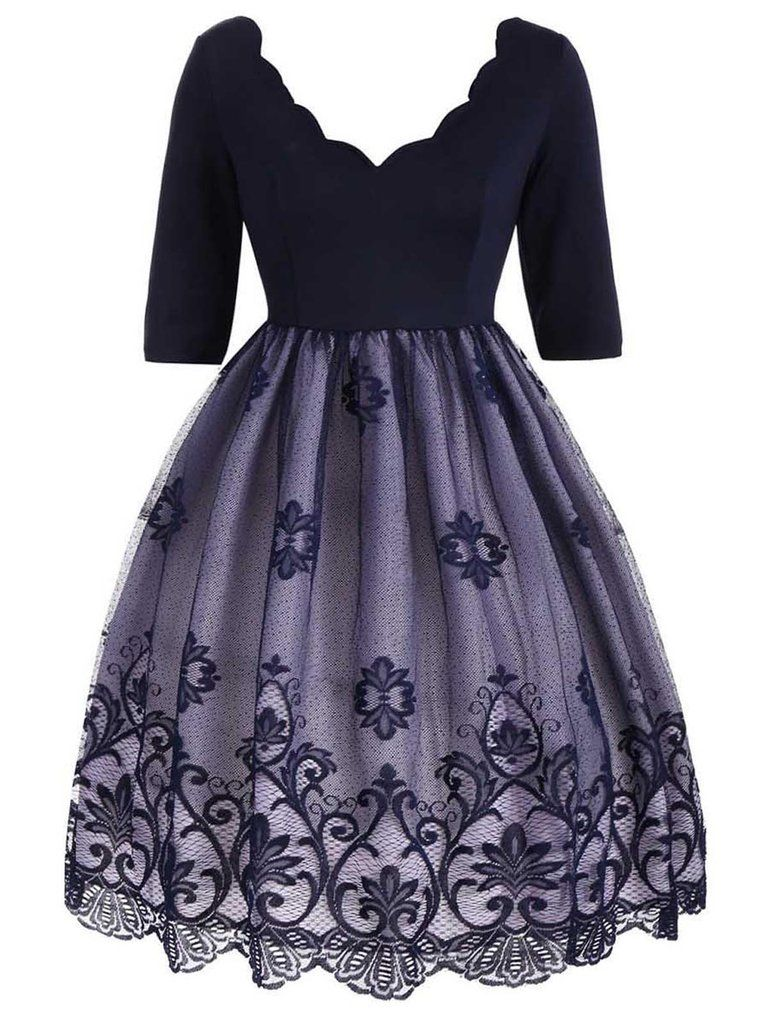 1740054abe9 1950s Lace Floral Plus Size Dress in 2019