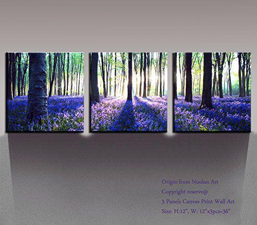 Canvas Print 3 Panels PURPLE TREES Modern Landscape Framed Canvas Wall Art Nuolan Art UK-P3L3030-003 by Nuolan Art