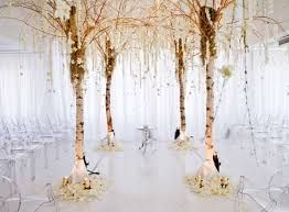 green and white with birch tree wedding decorations - Google Search ...