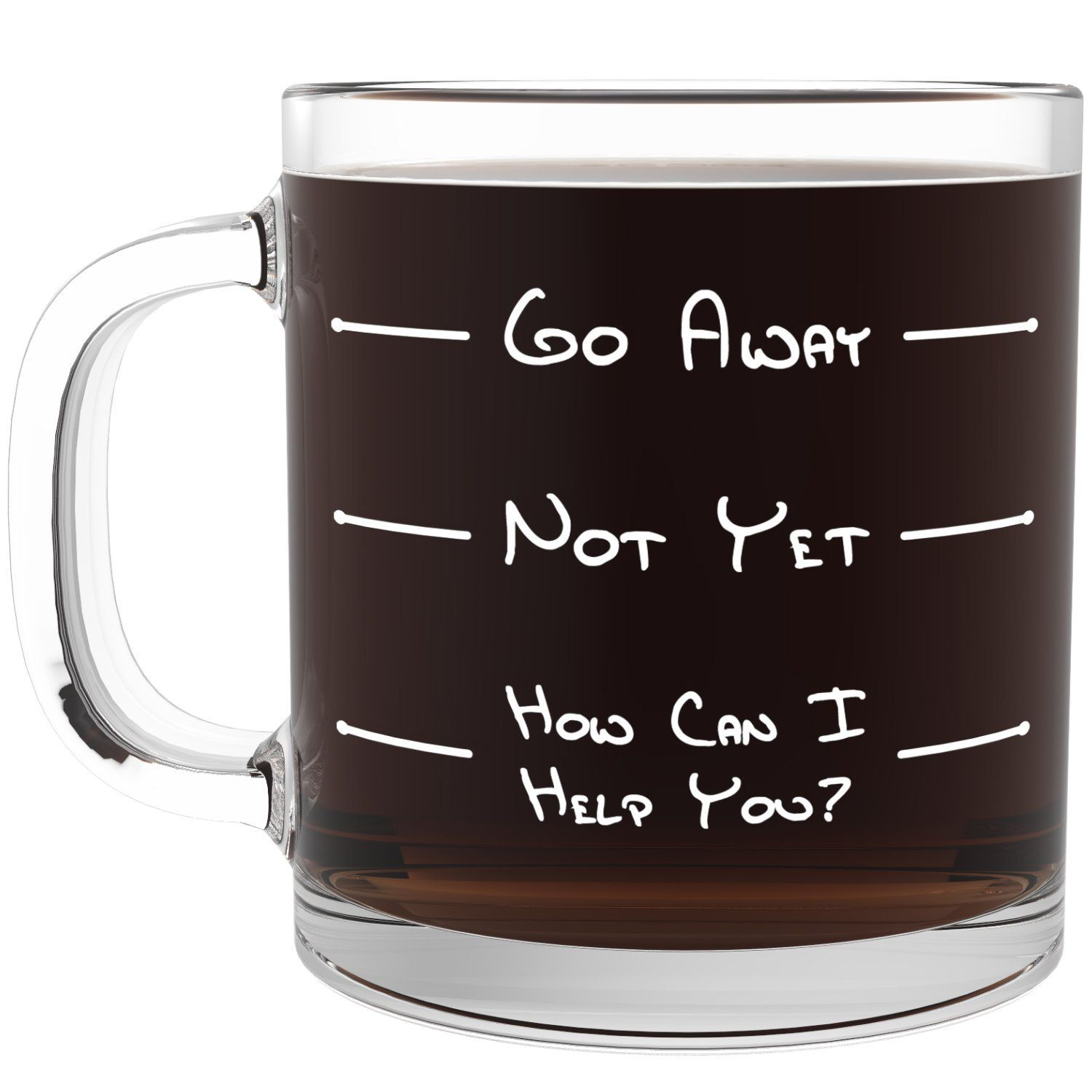 Go away funny glass coffee mug unique novelty gift for for Cool glass coffee mugs