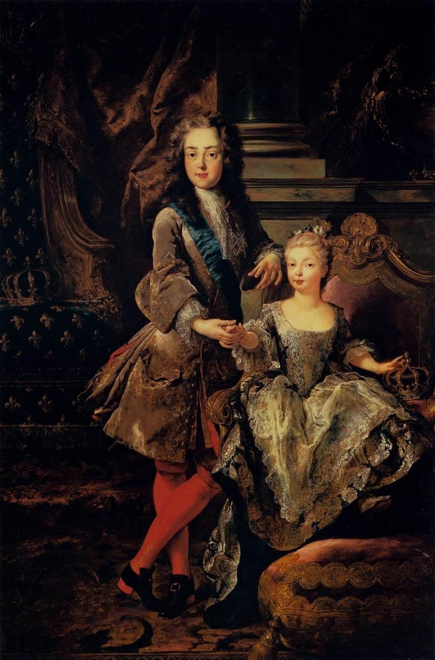Troy, Jean-Francois de - Portrait of Louis XV of France and Maria Anna Victoria of Spain - Baroque - Portrait - Oil on canvas
