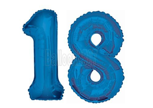 Giant 18th Birthday Party Number 18 Foil Balloon Helium Pink Blue