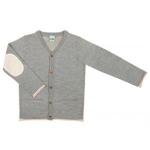 FUB fijn zacht gebreid vest grijs met creme kleurige details