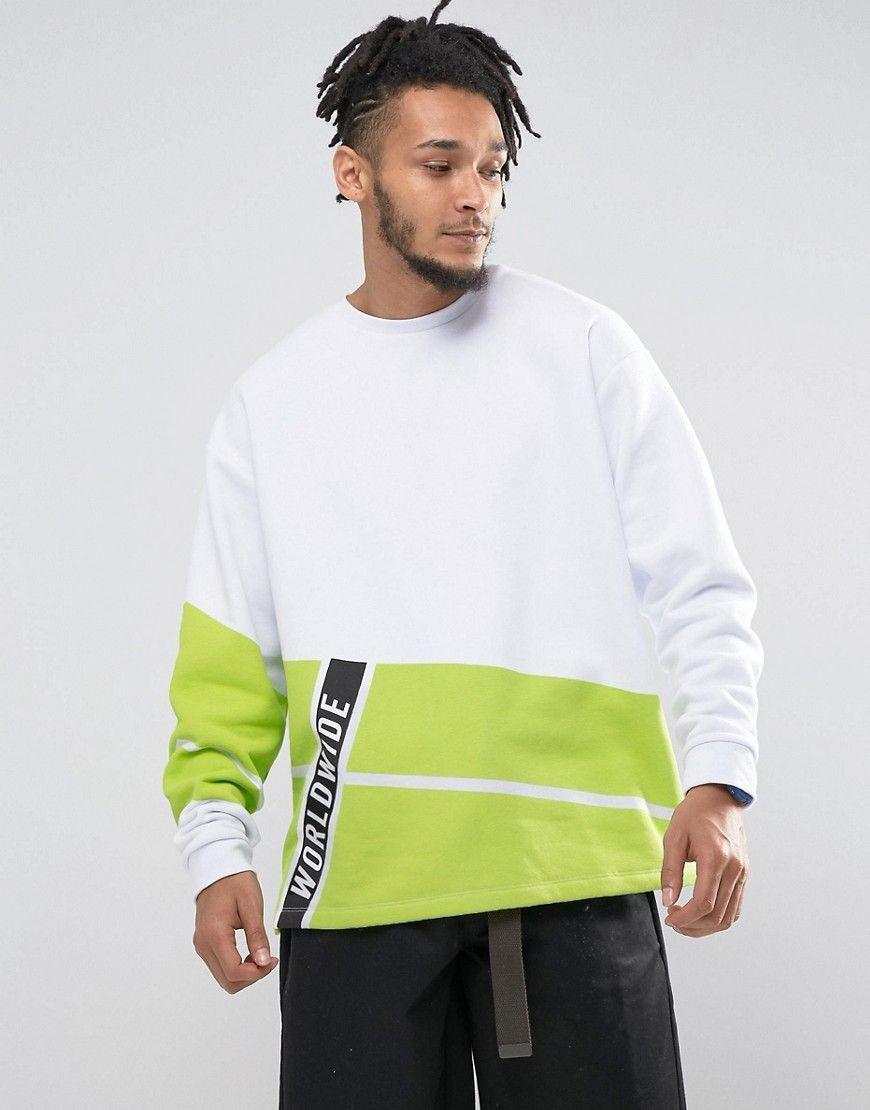 Asos Oversized Sweatshirt With Fluro Print White Asos Menswear Long Sleeve Tshirt Men Trendy Hoodies [ 1110 x 870 Pixel ]
