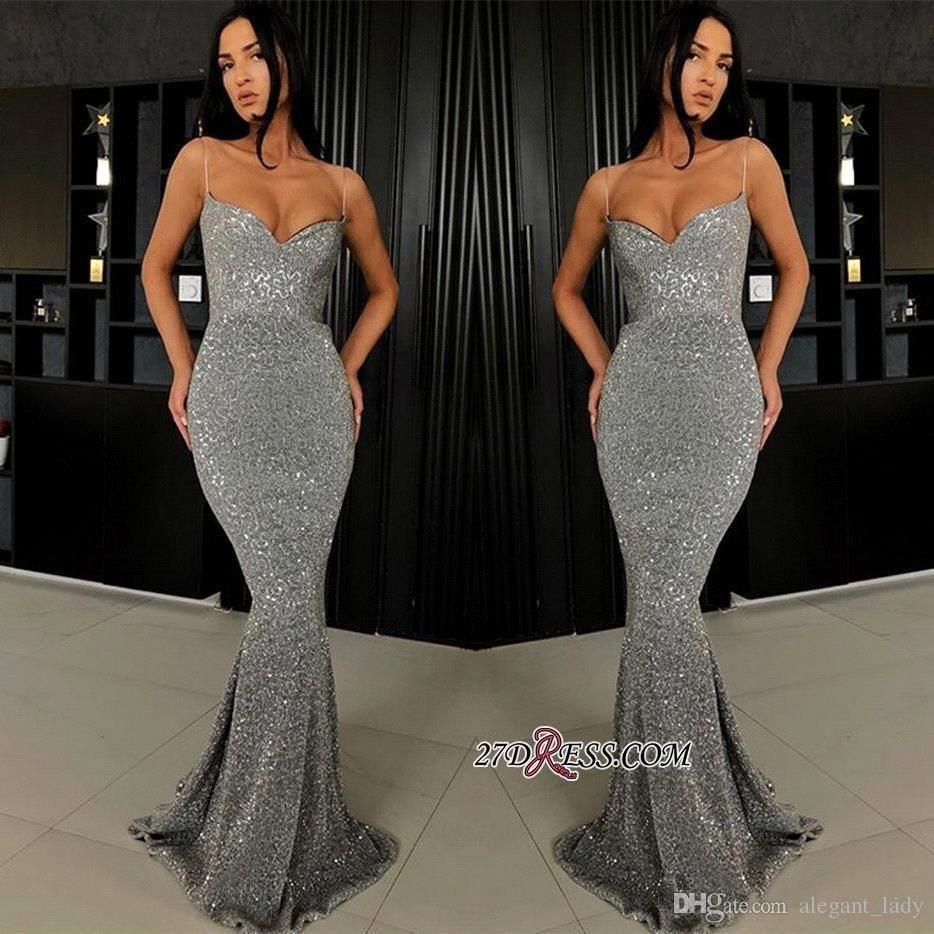 91ee8177bcde5 Sexy Spaghetti Mermaid Evening Party Dresses 2019 Shiny Sparkly Sequins  Backless Full Length Trumpet Silver Grey
