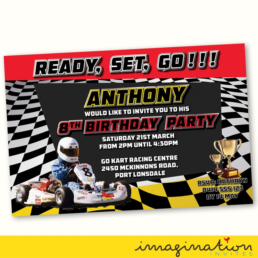 Go Kart Birthday Party Invitation Go Kart Racing Party Speedway ...