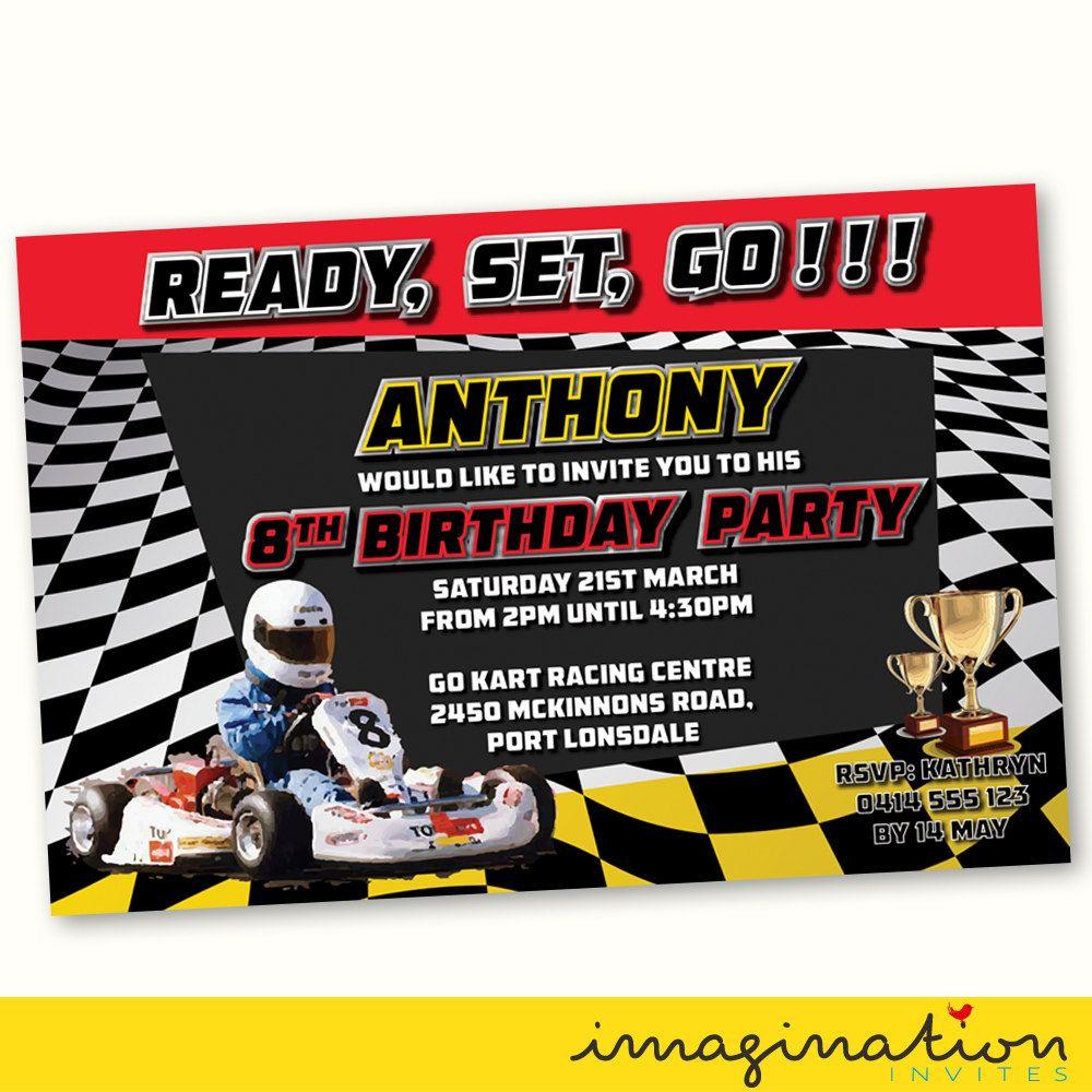 Go Kart Racing Invitation Birthday Party Invite JPEG File