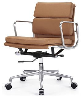 Superbe M342 Eames Style Soft Pad Office Chair In Brown Leather   Modern   Task  Chairs