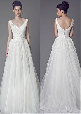 comprar Vestidos de escote una línea de novia de tul grácil cuello ...