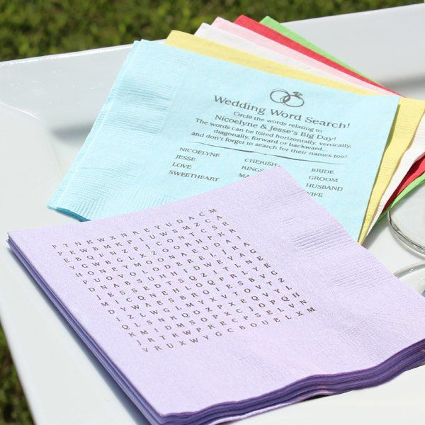 personalized wedding word search puzzle cocktail napkins set of 50