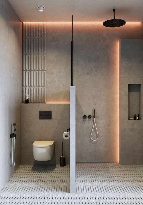 Dise o de ba o realizado con revestimiento de paredes en for Pared de bano de concreto encerado