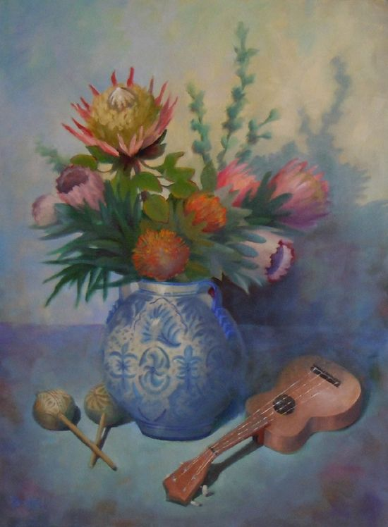 """Some tropical flowers, maracas and an ukulele make a composition for """"Island Memories"""" a large oil 40x30 by Barbara Hall from Arizona. Barbara's painting will be seen in Cincinnati from November 18 till December 31. See NOAPS Exhibits http://www.noaps.org/html/sa_exhibitions.html"""