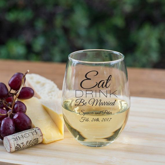 Set Of 36 Personalized Wine Gles Eat Drink Be Married Stemless Gl Favors Wedding Favor Ideas