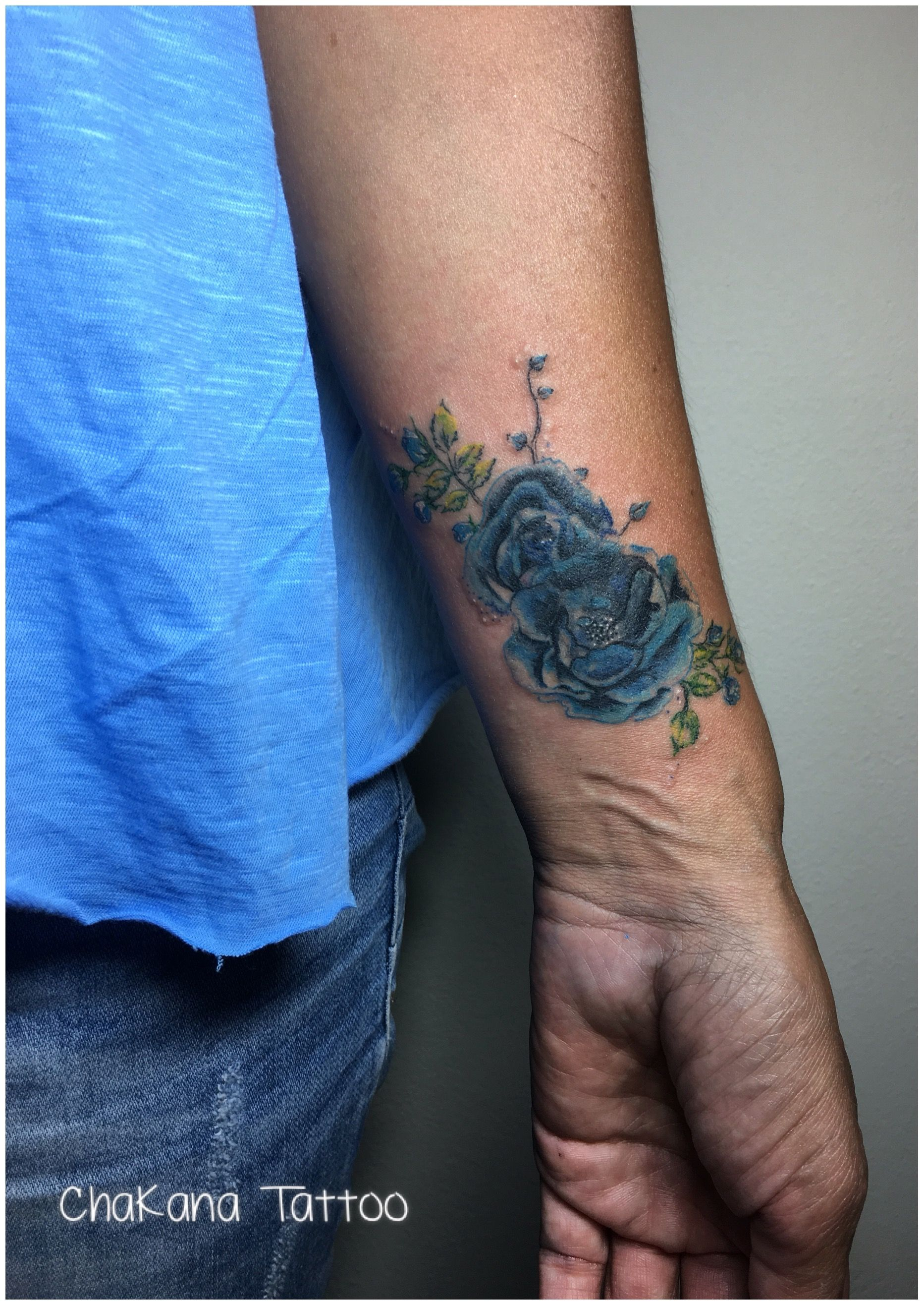 Flower Tattoo Rose Tattoo Blue Rose Tattoo Wrist Tattoo Coverup