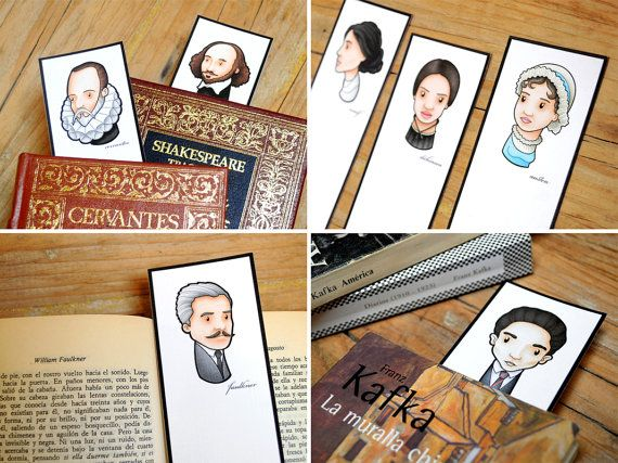Bookmarks collection Great writers of the world. 20 20 paper bookmarks + collector box. The best gift for literature lovers. By Ameba Verde