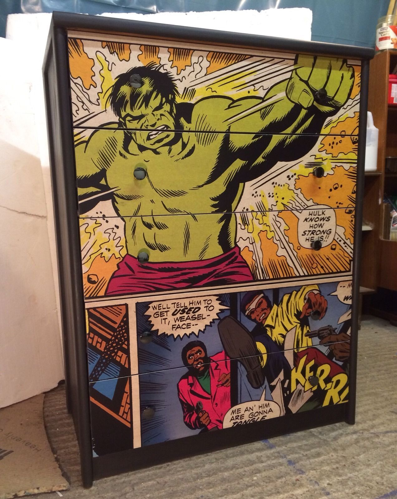 Upcycled chest of drawers with marvel ic decoupage