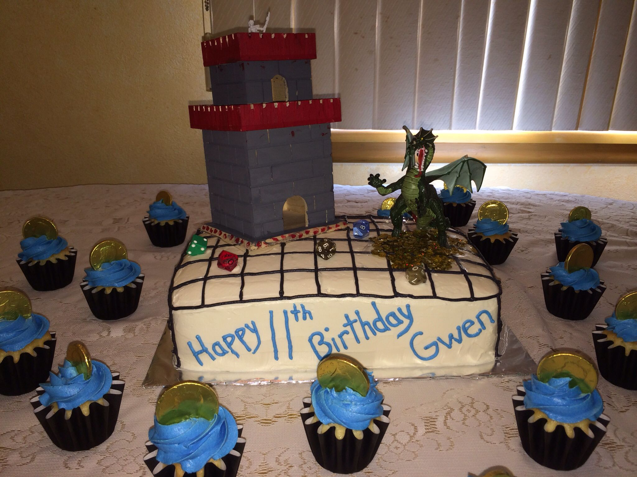 Dungeons and Dragons cake with cupcakes with gold coins Kids