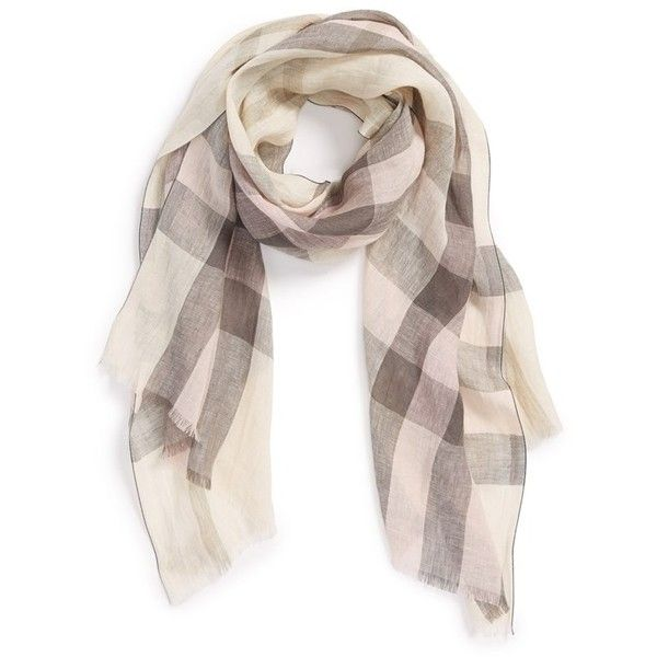 Burberry Giant Exploded Check Linen Scarf 295 Liked On