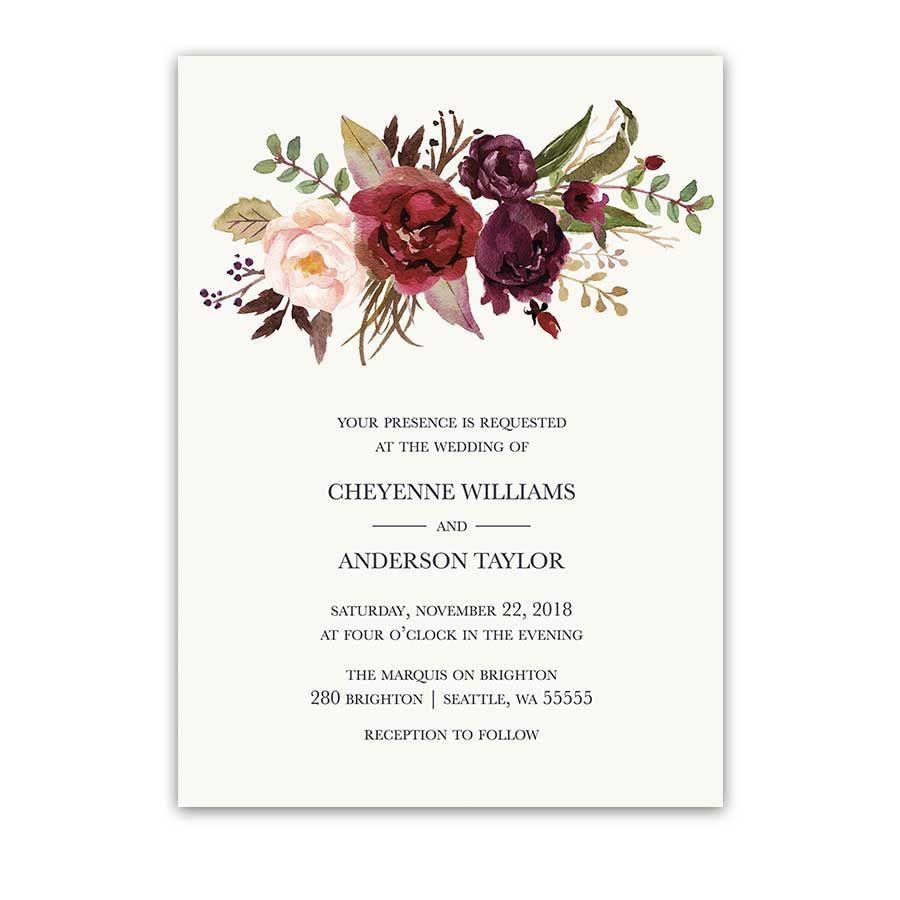 Burgundy Wedding Invitations Watercolor Florals Blush Wine