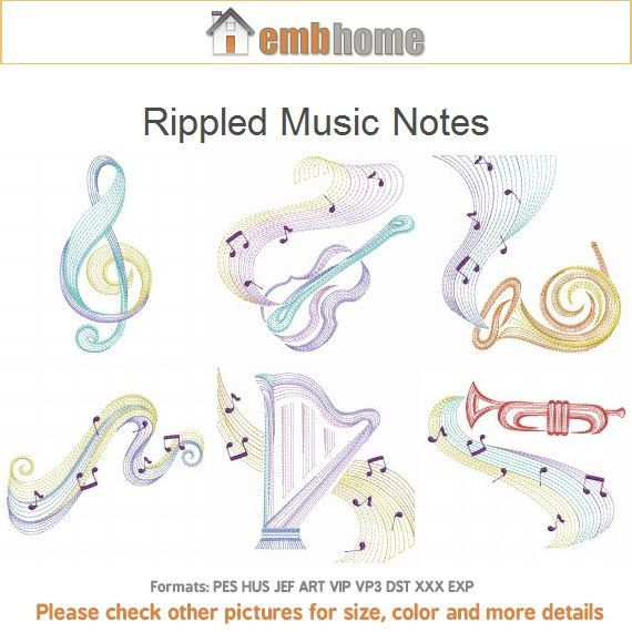 Rippled Music Notes Machine Embroidery Designs Pack by embhome, $17.50