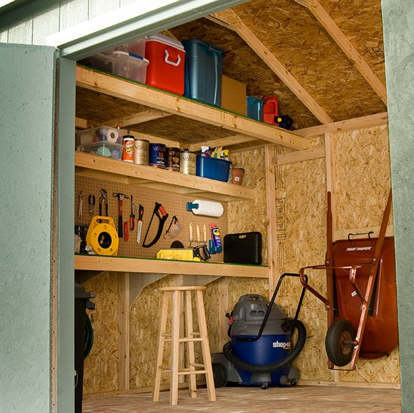 garage organizing ideas snowblower lawnmower - Adding a loft to a shed is sure way to maximize your