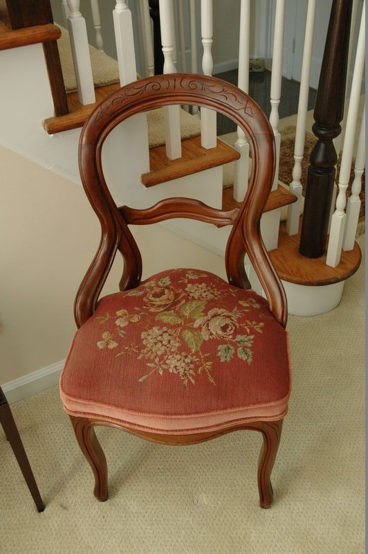 Furniture Lot To Include A Pair Of Victorian Open Back, Hand Carved Chairs  With Needlepoint Floral Design On Seat And Vintage Wooden Box With Stand.