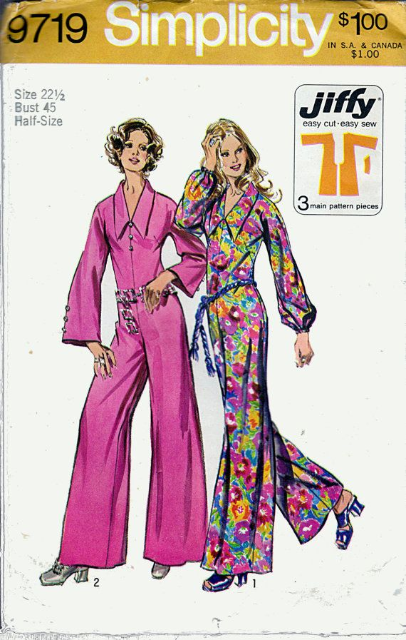 70s Bell Bottom Jumpsuit Butterfly Collar Plus Size Bell Bottoms
