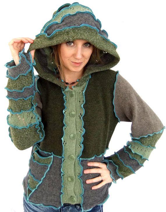 Strickjacke Elf Hoodie  Upcycled Pixie Sweater  groß von Fairytea