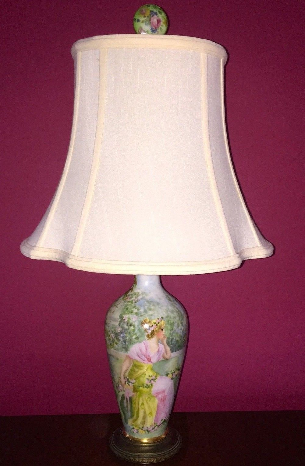 Antique Limoges France Hand Painted Signed Porcelain Vase Table Lamp W Shade Vase Table Lamp Lamp Table Lamp