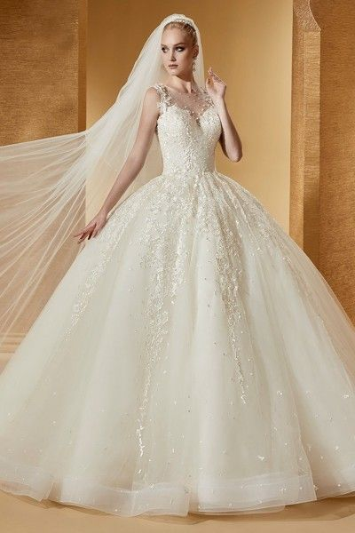 Pretty Court Train Jewel Ball Gown Appliques Sleeveless Tulle UK Wedding Dresses 2016