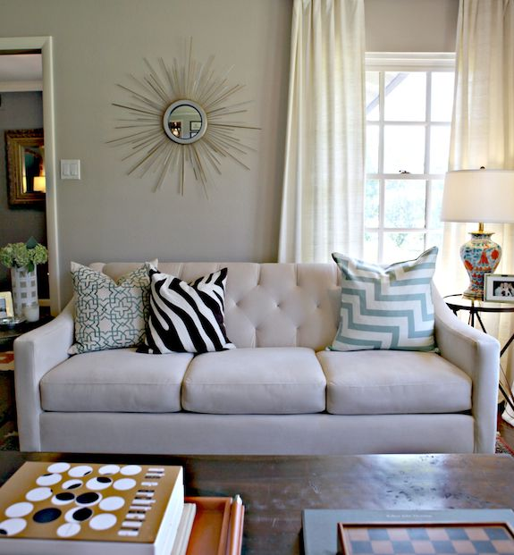 Greige Living Room chic living room design with soft greige walls paint color, macy's