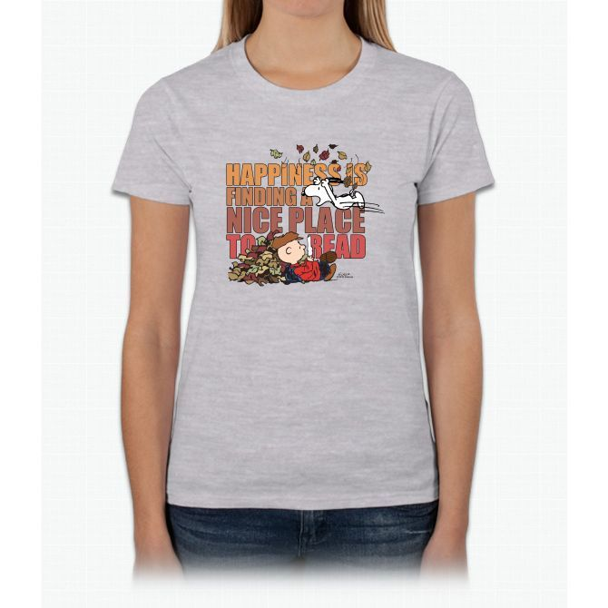 Peanuts Fall Reading Tee Snoopy Ladies T-Shirt