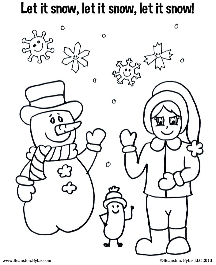 Toddler Friendly Snow Themed Coloring Page Winter