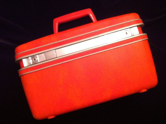Retro Orange Train Case by Samsonite by JaybirdFinds on Etsy -- SOLD