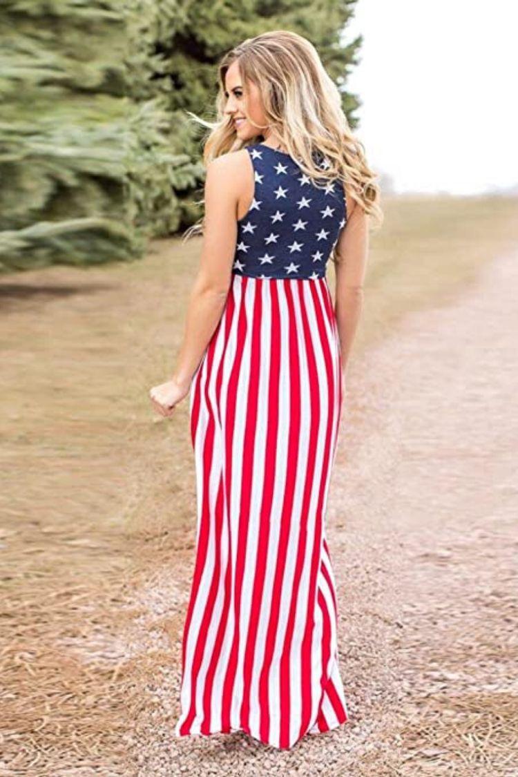 Patriotic Maxi Dress Maxi Dresses Casual Patriotic Outfit Clothes For Women [ 1125 x 750 Pixel ]