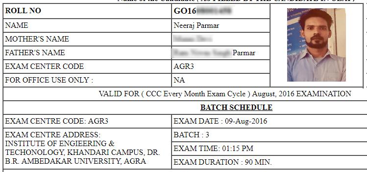 Ccc Admit Card Ccc Exam Exam Exam Time