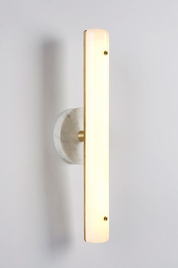 fort standard : counterweight wall sconce : marble , brass , oak wood
