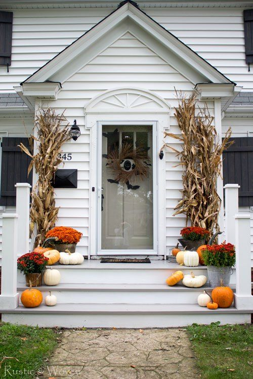 Fall Front Porch and Halloween Front Door rusticandwoven - decorating front porch for halloween