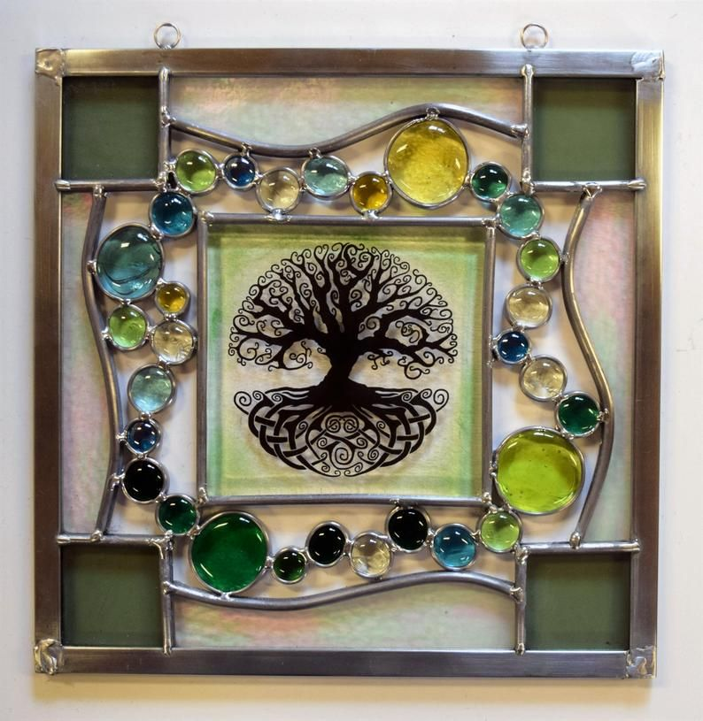 A Stained Glass Panel With A Fused Glass Tree Of Life In The Middle Lined In Zinc And Leaded Glass Rings On Top For Hanging 12x12 Fused Glass Stained Glass Glass