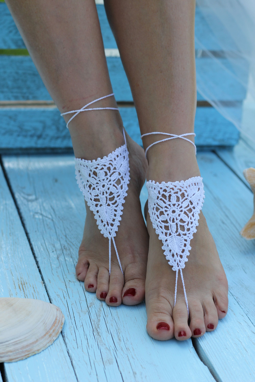Bridal Barefoot Sandals White crochet barefoot sandals