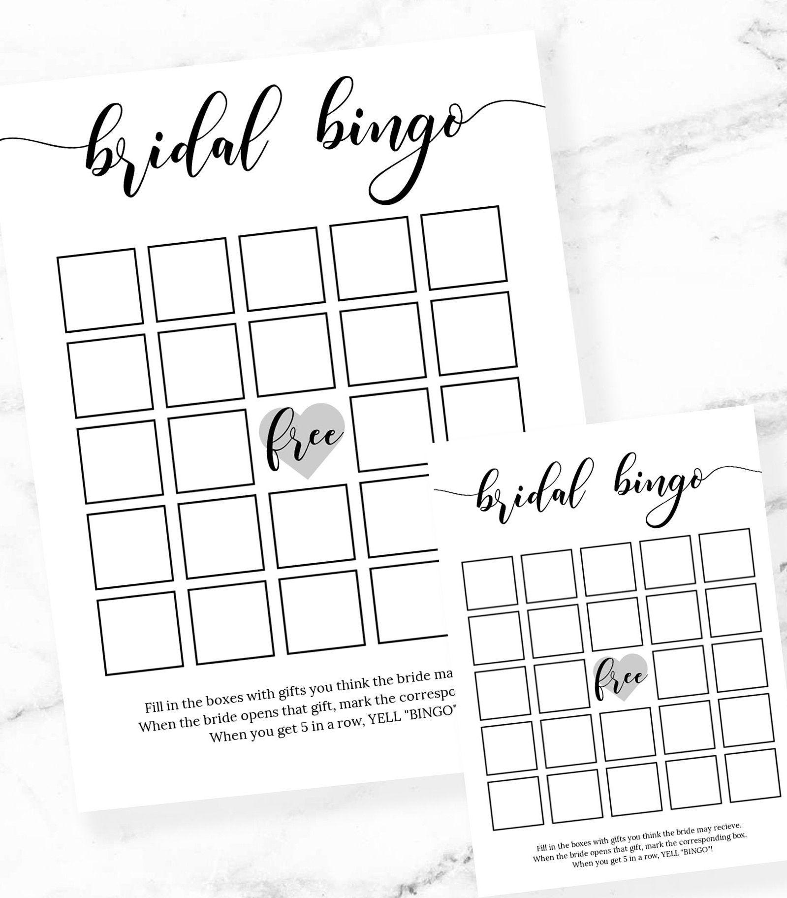 Bridal shower bingorustic bridal shower gamebridal bingo