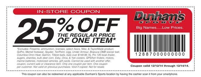 Dunhams Sports In-Store Coupon