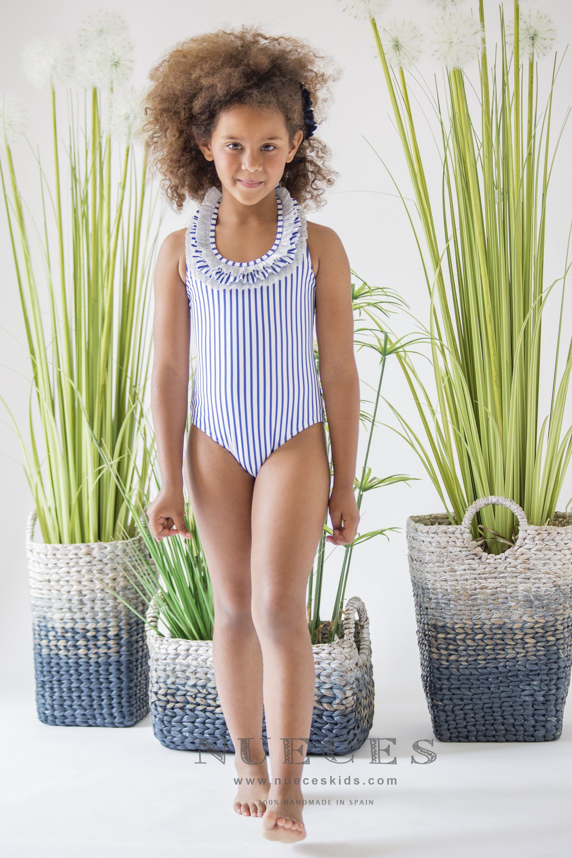 5105763eb1 Nueces Blue and White Striped Swimsuit | Products | Striped swimsuit ...