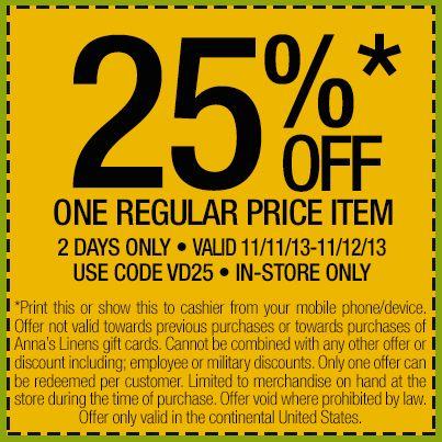 Annas linens coupon codes 2018