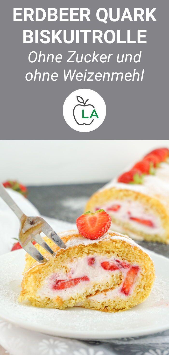 - Low Carb Biskuitrolle mit Erdbeeren - Glutenfreies & zuckerfreies Rezept